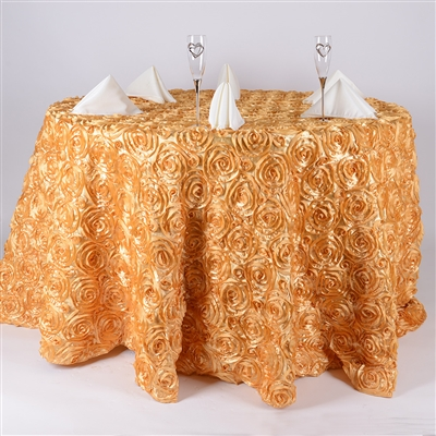 Gold 120 Inch Round Rosette Satin Tablecloths