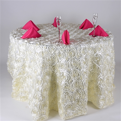 Ivory 120 Inch Round Rosette Satin Tablecloths