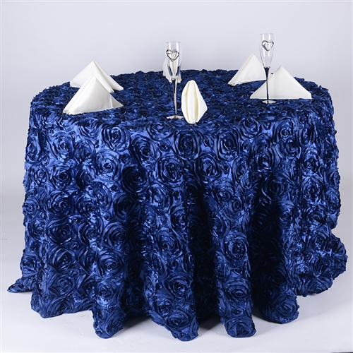 Navy Blue 120 Inch Round Rosette Satin Tablecloths
