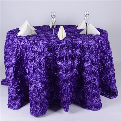 Purple 120 Inch Round Rosette Satin Tablecloths