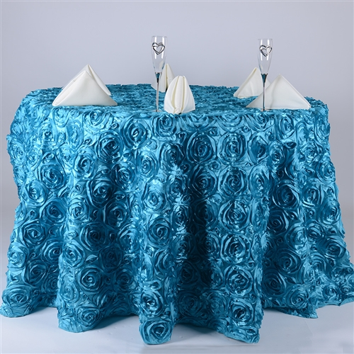 Turquoise 120 Inch Round Rosette Satin Tablecloths