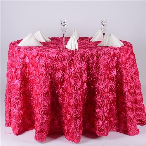 Fuchsia 120 Inch Round Rosette Satin Tablecloths