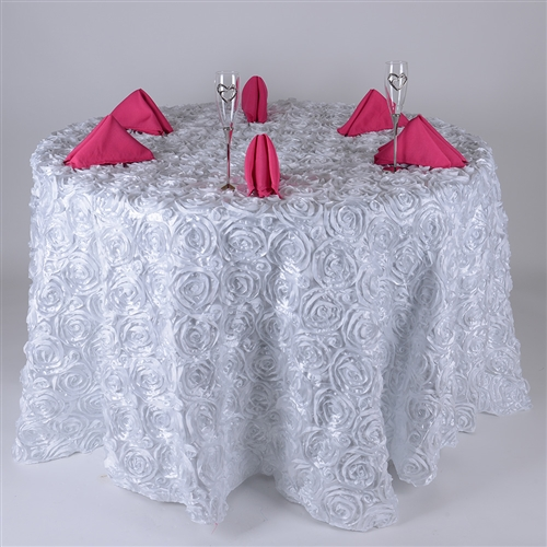 White 120 Inch Round Rosette Satin Tablecloths