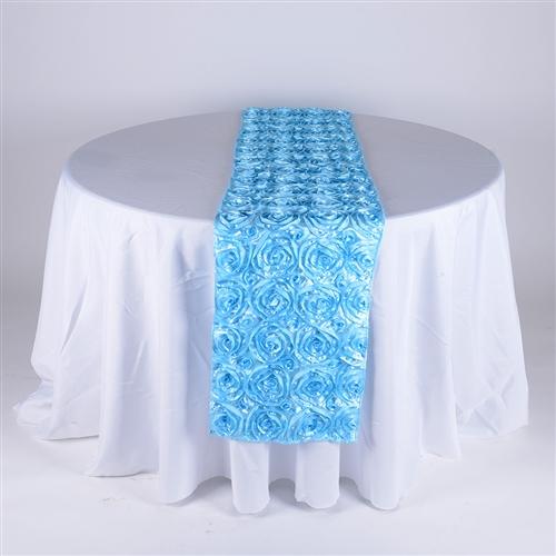 Light Blue 14 Inch x 108 Inch Rosette Satin Table Runner
