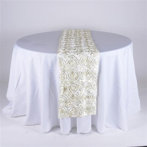 Ivory 14 Inch x 108 Inch Rosette Satin Table Runner