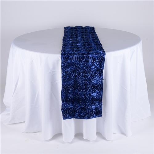 Navy Blue 14 Inch x 108 Inch Rosette Satin Table Runner