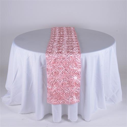 Pink 14 Inch x 108 Inch Rosette Satin Table Runner
