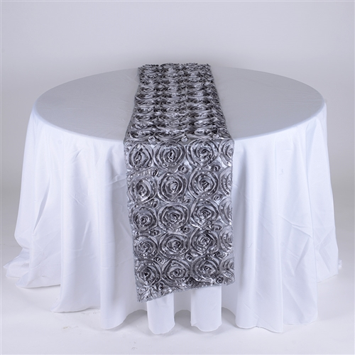 Silver 14 Inch x 108 Inch Rosette Satin Table Runner