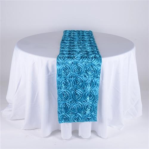 Turquoise 14 Inch x 108 Inch Rosette Satin Table Runner