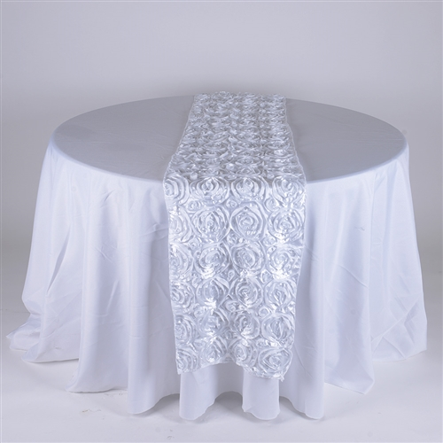 White 14 Inch x 108 Inch Rosette Satin Table Runner