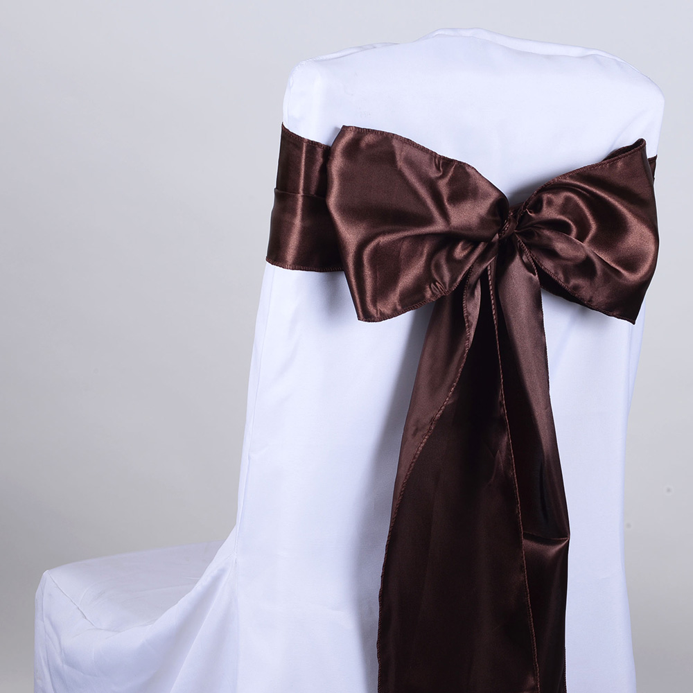 Brown Satin Chair Sash 10 Pieces