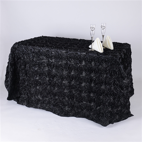 Black 90 Inch x 132 Inch Round Rosette Satin Tablecloths