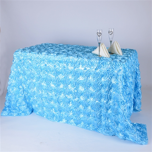Light Blue 90 Inch x 132 Inch Round Rosette Satin Tablecloths