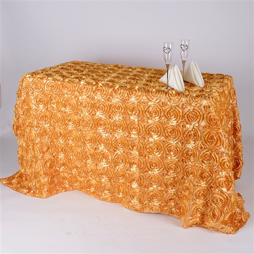 Gold 90 Inch x 132 Inch Round Rosette Satin Tablecloths