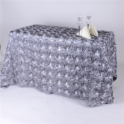 Silver 90 Inch x 132 Inch Round Rosette Satin Tablecloths