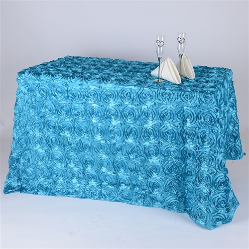 Turquoise 90 Inch x 132 Inch Round Rosette Satin Tablecloths