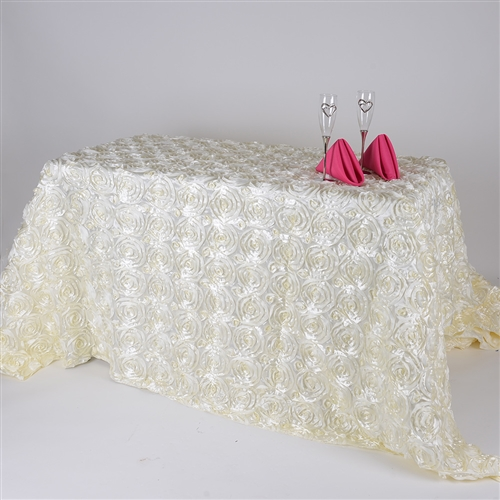 Ivory 90 Inch x 156  Inch Round Rosette Satin Tablecloths