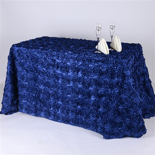 Navy Blue 90 Inch x 156  Inch Round Rosette Satin Tablecloths