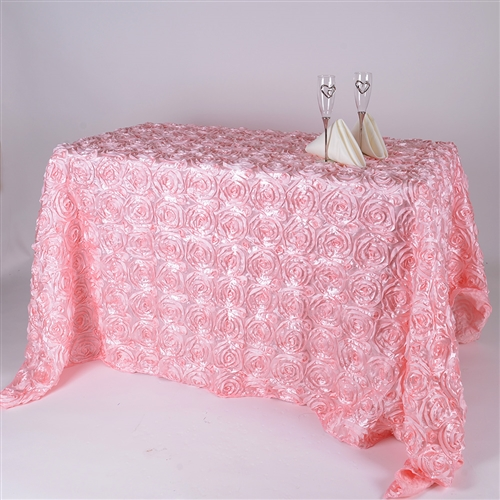 Pink 90 Inch x 156  Inch Round Rosette Satin Tablecloths