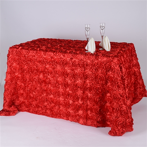 Red 90 Inch x 156  Inch Round Rosette Satin Tablecloths