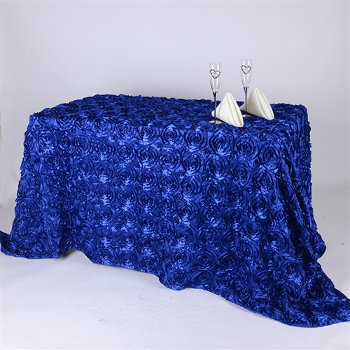 Royal Blue 90 Inch x 156  Inch Round Rosette Satin Tablecloths