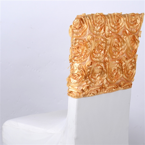Gold 16 Inch x 14 Inch Rosette Satin Chair Top Covers