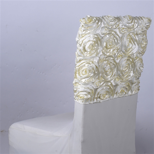 Ivory 16 Inch x 14 Inch Rosette Satin Chair Top Covers