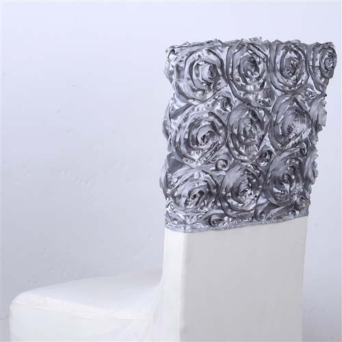 Silver 16 Inch x 14 Inch Rosette Satin Chair Top Covers