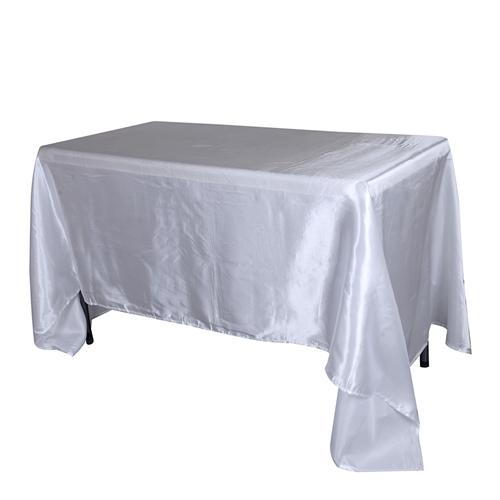 White 90 Inch x 132 Inch Rectangular Satin Tablecloths