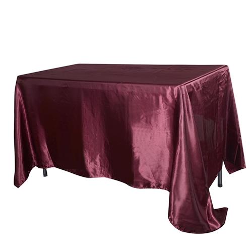 Burgundy 90 Inch x 132 Inch Rectangular Satin Tablecloths