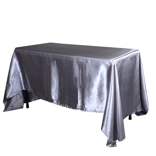 Silver 90 Inch x 132 Inch Rectangular Satin Tablecloths