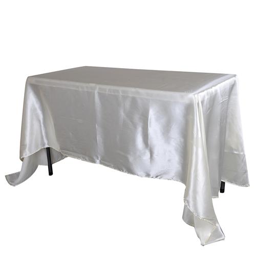 Ivory 90 Inch x 132 Inch Rectangular Satin Tablecloths