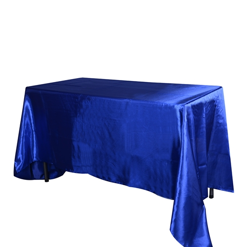 Royal Blue 90 Inch x 132 Inch Rectangular Satin Tablecloths