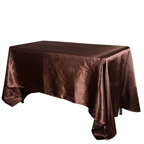 Chocolate Brown 90 Inch x 132 Inch Rectangular Satin Tablecloths