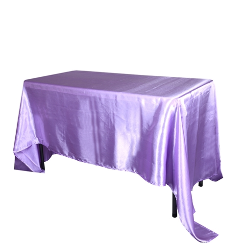 Lavender 90 Inch x 156 Inch Rectangular Satin Tablecloths
