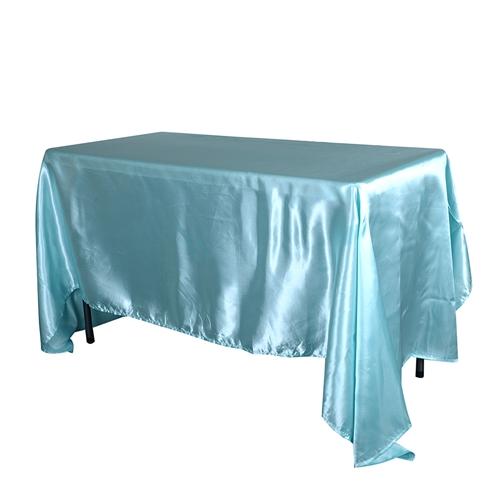 Aqua Blue 90x156Inch Rectangular Satin Tablecloth